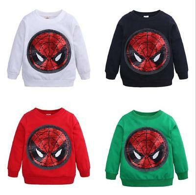 Toddler Kids Sweat-shirt Spiderman Baby Cotton T shirt Boys Pull-over Tops 2-7Y
