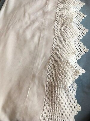 Beautiful white antique linen and handmade pointed lace double sheet sham