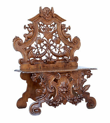 19Th Century Heavily Carved Continental Walnut Decorative Chair