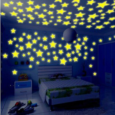 100Pcs Leuchtend Wall Stickers Kinder Kids Bedroom Stars Fluorescent Wandtattoos