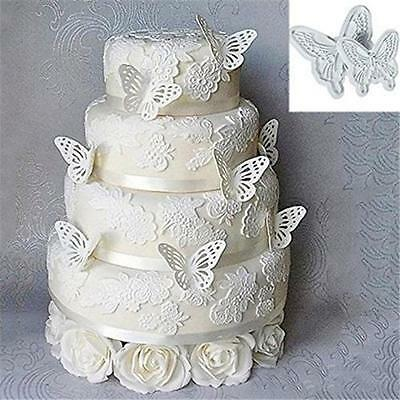 2Pcs/Set Butterfly Cake Fondant Sugarcraft Mould Cookie Plunger Cutter Tool XU