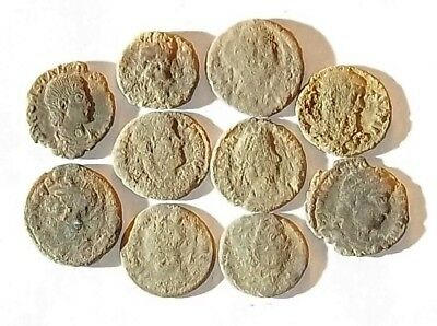 10 ANCIENT ROMAN COINS AE3 - Uncleaned and As Found! - Unique Lot 01114