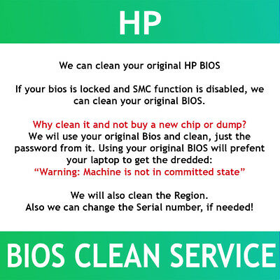 HP Bios Clean Service. Remove password, clean region me, adjust sn. Fast service