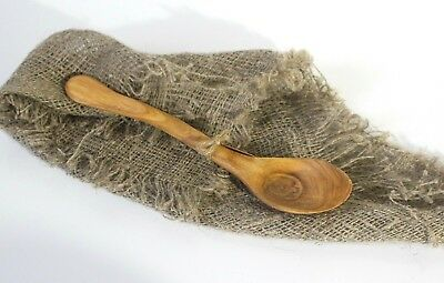 Handmade Hand Carved Wood Apple Vintage French Country Medieval Vikings Spoon 9""