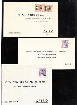Egypt  1940/52  Unused 3 Socony-Vacuum Co. Covers Frk. With The Co. Perfins