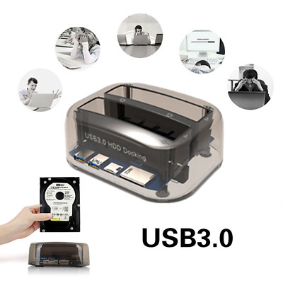 USB 3.0 to SATA Dual Bay Hard Drive Docking Station for 2.5/3.5 Inch HDD SSD DT