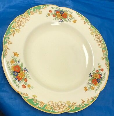 """Woods Ivory Ware England Flowers On Cream Approx. 1920 10"""" Dinner Plate *Sale*"""