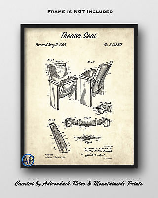 1965 Theater Seat Patent Print  -  Theater Seat Patent Poster