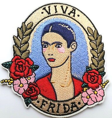 "Viva Frida Kahlo Iron On Quality Flowers Embroidered 3.5"" Patch Mexico (A32)"
