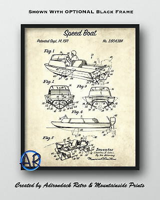 Speed Boat Patent Art Print  -  Vintage Patent Poster