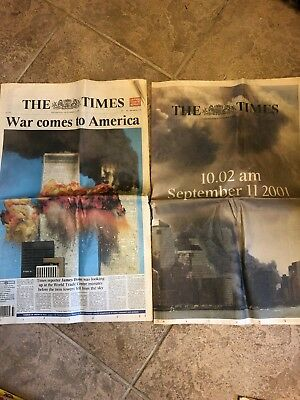 THE TIMES Newspaper - 12 September 2001 - 9/11 Issue PLUS supplement
