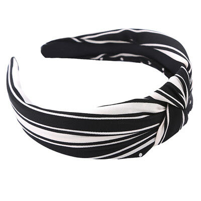 Women Lady Girl Striped Check Bow Knot Wire School Hair Band Hoop Headband 8C