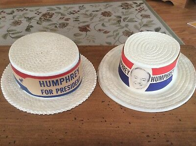 Vintage and Rare Hubert Humphrey for President Campaign Hats 38th Vice President