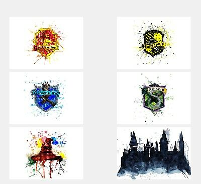 H> Potter Movie Watercolor Wall Art Unframed Poster Prints Set of 6 8x10 N6