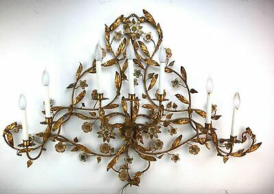 Large Vintage Rococo 7 Light Wall Sconce Fixture Gold Leaves Flower Cherubs