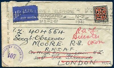 New Zealand Censor Cover 1941 used 9d to England