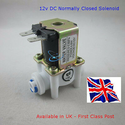 """DC-12V Magnetic Solenoid Valve - N/C 1/4"""" Quick connect - Available in UK"""