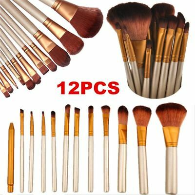 Professional 12 Piece Kabuki Make Up Brush Set and Cosmetic Brushes UK SELLER