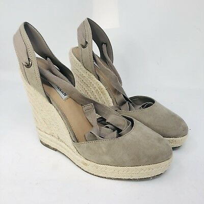 94b84a01dfc95c Steve Madden Barre Women s Espadrille Wedge Sandal Lace Up Heels Taupe 8