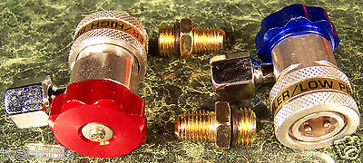 QUICK COUPLER ADAPTERS for A/C Manifold Gauge R134A High Low Red Blue Side new