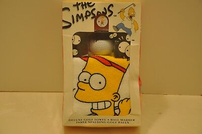 """The SIMPSONS """"DELUXE GOLF TOWEL/BALL MARKER/3 SPAULDING GOLF BALLS"""" =BOXED 1992"""