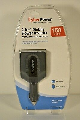 CyberPower CPS150BU Mobile Power Inverter 150W AC Outlet + USB Charger Swivel