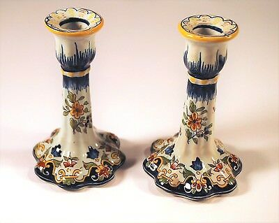 Antique Candlestick Holders pair Faience Rouen France Repaired