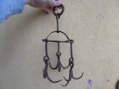 Antique 19Th Century Wrought Iron Hand Forged Water Well Hooks