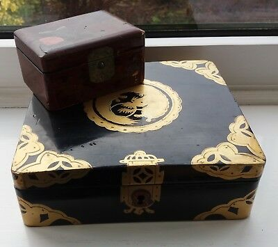 Vintage Oriental Boxes Black Gold Chinese Dragon & Japanese Hand Painted