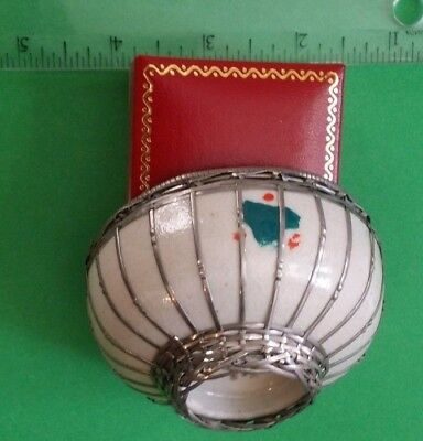 Antique Japanese Pottery Bowl Basket Woven Silver Wire