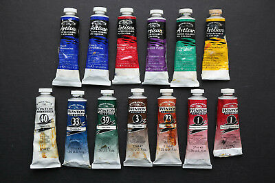 Winsor and Newton Artisan and Winton artists oil paints 13 x 37ml tubes