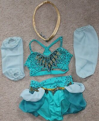 Dance Costume - Child's Small - Used - light blue with gold age 8 - girls