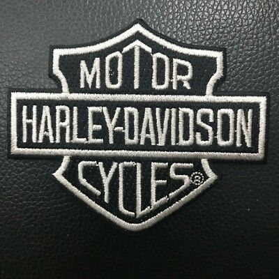 Harley Davidson Bar And Shield Black Silver Iron On/Sew On Patch