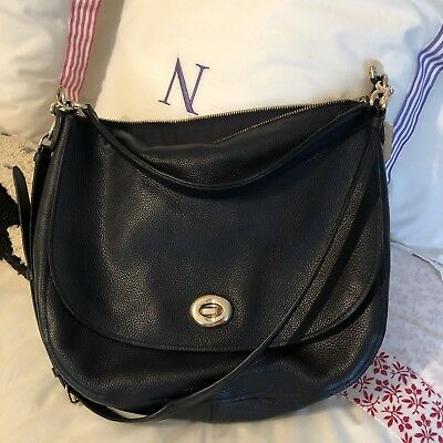 a610fd41ee VINTAGE COACH 9020 Navy Blue Ergo Shoulder Bag   Mini Zip Leather ...