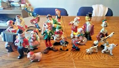 Vintage 15 Clown Collectible Figurines Mostly 1950s Japan Italy Relco Yona