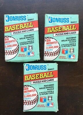 1991 Donruss Lot Of 3 Unopened Packages Of Baseball Cards Series 2