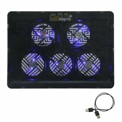 Gaming 5 Fans LED USB Cooling Stand Pad Cooler For 12''-17'' Laptop Notebook JV