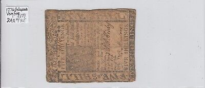 5 Shillings  1776 Colonial Currency Delaware