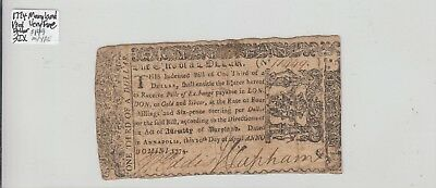 1/3 Rd Dollar  1774 Colonial Currency Maryland