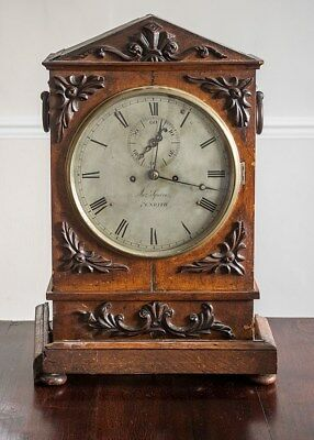 Antique Twin Fusee chain driven oak cased 8 day Bracket Clock for restoration