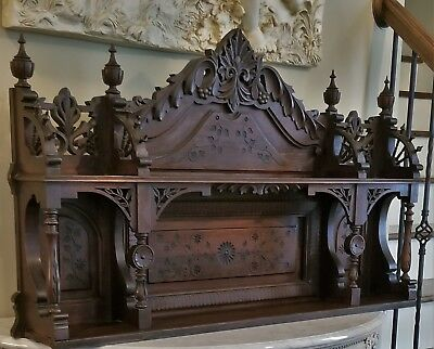 Antique Victorian Carved Backbar Fireplace Mantle Table Counter Top Wall Shelf