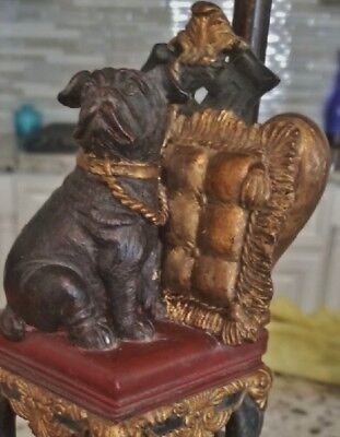 PR TABLE LAMPS after QUEEN VICTORIA ROYAL PUG BULLDOG ON THRONE CHAIRS SHADES