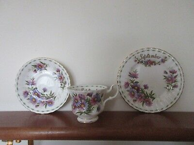 """Royal Albert Flower of the Month """" September """" Trio - Cup,Saucer ,Plate"""