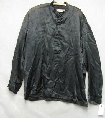 S2175 1940's United Costumers Warner Bros. Pullover Rayon Black 1/2 Button Shirt