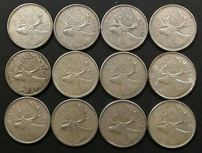 Lot of 12 F to MS 1960's Canadian 80% Silver Quarters Coins