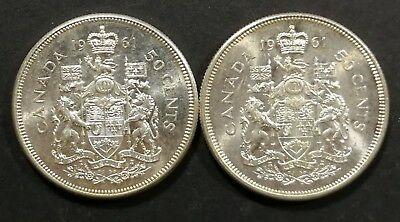 Lot of 2 MS 65 1961 Canadian Silver Half Dollar 50 Cent Coins