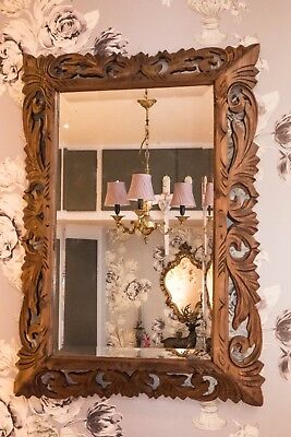 Antique French oak carved bevelled glass mirror