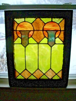 """Antique, c 1905, Leaded Stained Glass Window, Detroit, MI, Rectangle 25"""" x 20"""""""