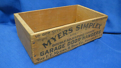 Myers Simplex Garage Door Hangers Wood Box Shipping Crate advertising