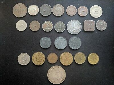 German Coins Lot with Silver, WWI, WWII, Reich, Pfenniges, Marks 1867-1961 1943